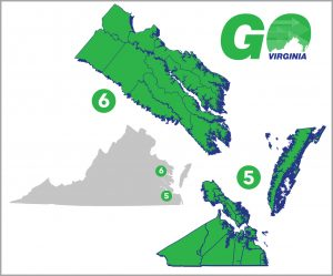 Image shows geographic range of GO Virginia regions five and six along Virginia's coast.